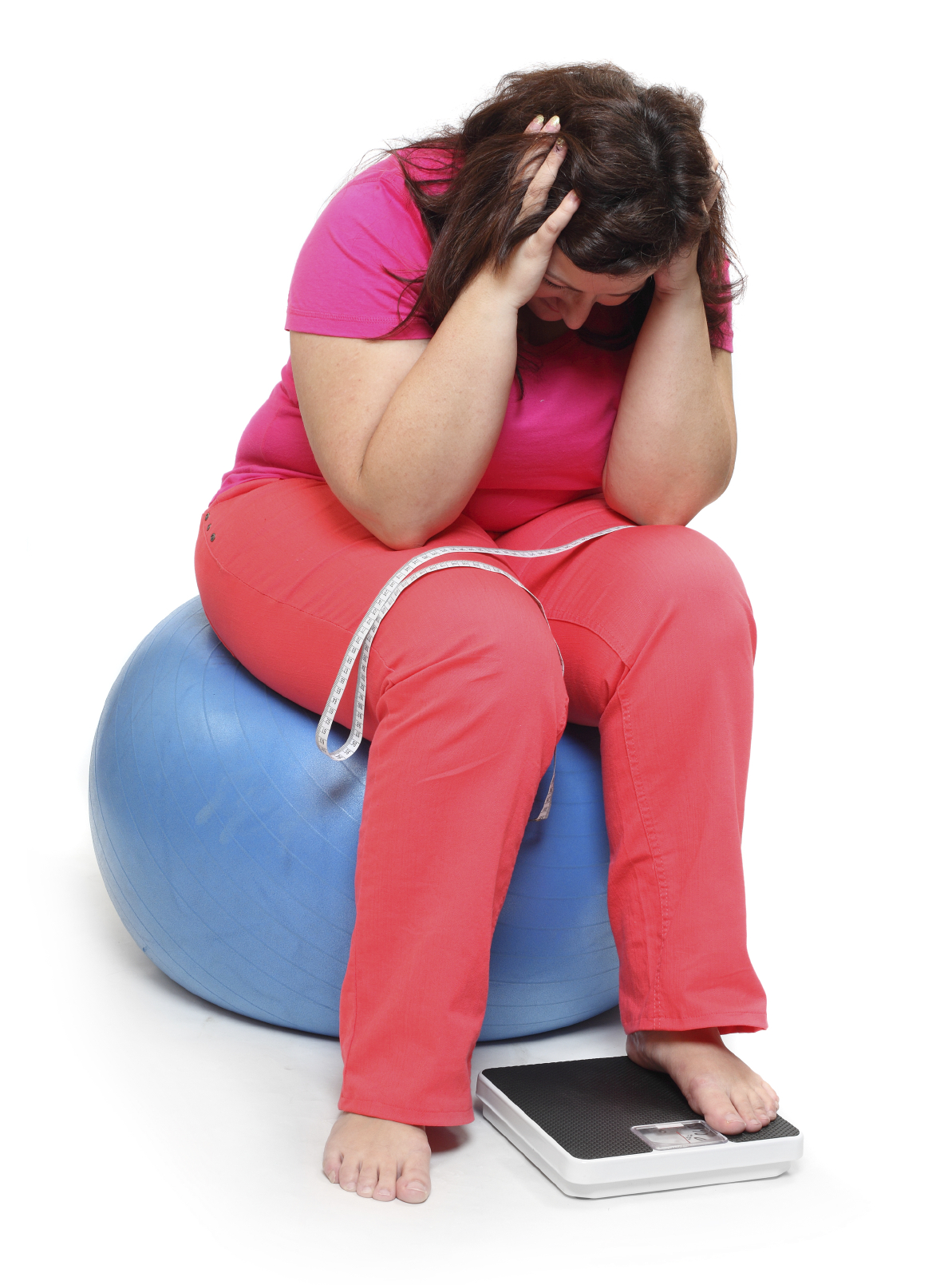 Frustrated overweight woman