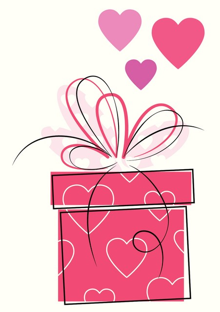 lovely valentine`s day presents greeting cards set on white purple and polka dot background
