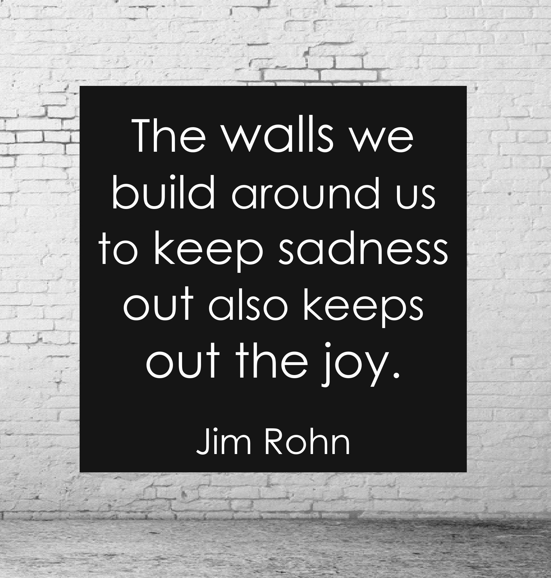 The walls we build around us to keep sadness out also keeps out the joy