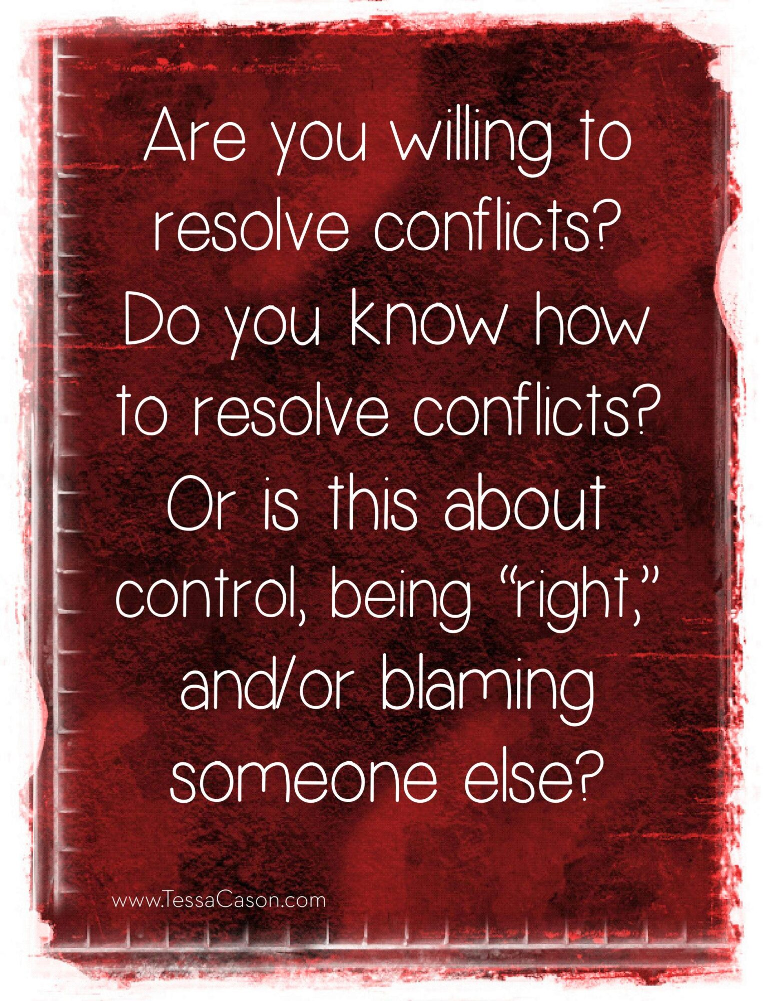 Are you willing to resolve conflict